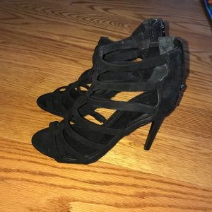 Black express caged heels worn once